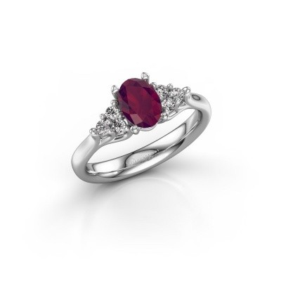 Photo de Bague de fiançailles Monika OVL 585 or blanc rhodolite 7x5 mm