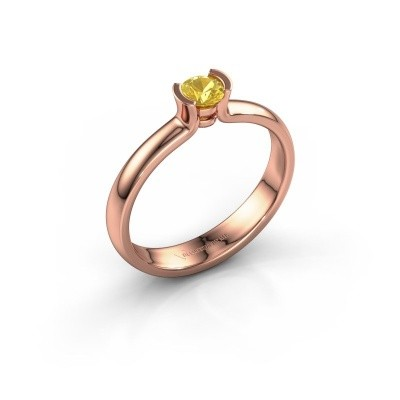 Foto van Verlovingsring Ophelia 375 rosé goud gele saffier 4 mm
