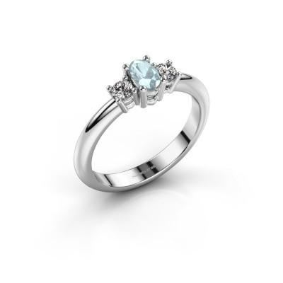 Engagement ring Karie 950 platinum aquamarine 5x3 mm