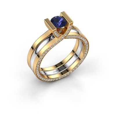 Verlovingsring Kenisha 585 goud saffier 5 mm