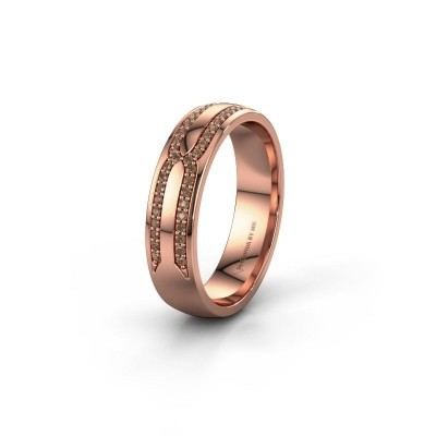 Wedding ring WH2212L25AP 375 rose gold brown diamond ±5x1.7 mm