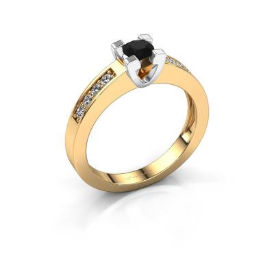 Aanzoeksring Anne 2 585 goud zwarte diamant 0.36 crt