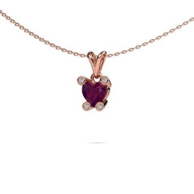 Foto van Ketting Cornelia Heart 375 rosé goud rhodoliet 6 mm