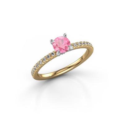 Bild von Verlobungsring Crystal rnd 2 585 Gold Pink Saphir 5 mm