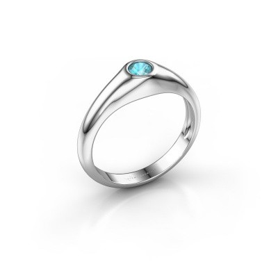 Picture of Pinky ring Thorben 375 white gold blue topaz 4 mm