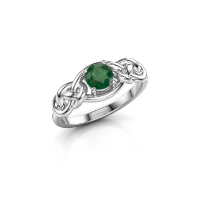 Foto van Ring Zoe 585 witgoud smaragd 5 mm