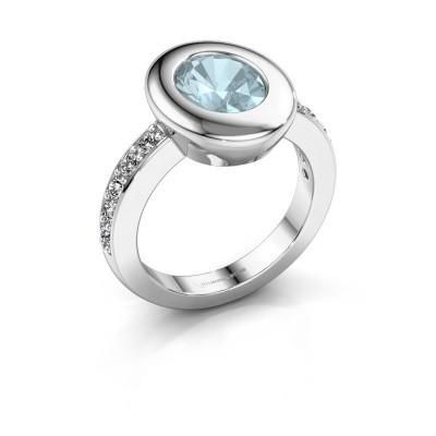 Ring Selene 2 950 platina aquamarijn 9x7 mm