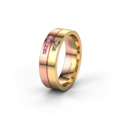 Wedding ring WH0207L16AP 585 rose gold pink sapphire ±0.24x0.07 in