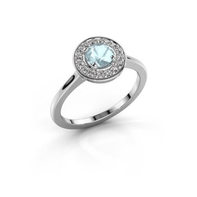 Ring Agaat 1 585 white gold aquamarine 5 mm