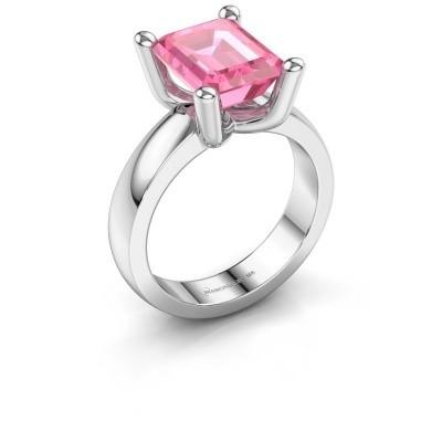 Ring Clelia EME 950 platina roze saffier 10x8 mm