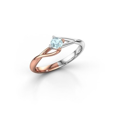 Picture of Engagement ring Paulien 585 rose gold aquamarine 4 mm