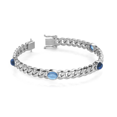 Picture of Link bracelet Corinne 8mm 585 white gold blue topaz 8x6 mm
