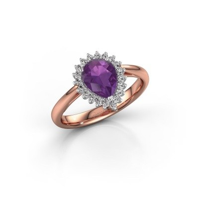 Picture of Engagement ring Tilly per 1 585 rose gold amethyst 8x6 mm