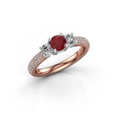 Foto van Verlovingsring Marielle RND 585 rosé goud robijn 5 mm