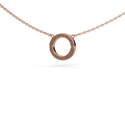 Foto van Hanger Round 1 375 rosé goud bruine diamant 0.075 crt