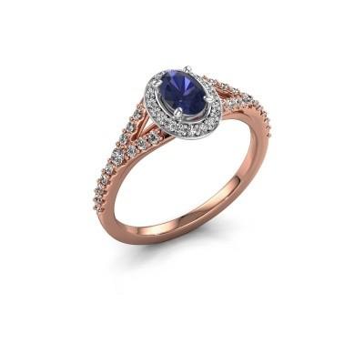 Belofte ring Pamela OVL 585 rosé goud saffier 7x5 mm