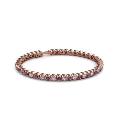Tennisarmband Bianca 3 mm 375 rosé goud amethist 3 mm