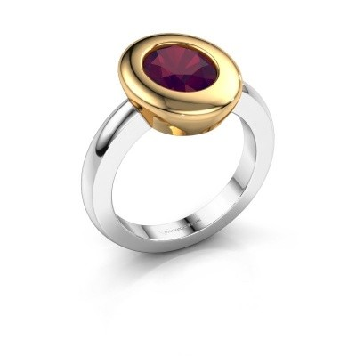 Ring Selene 1 585 witgoud rhodoliet 9x7 mm