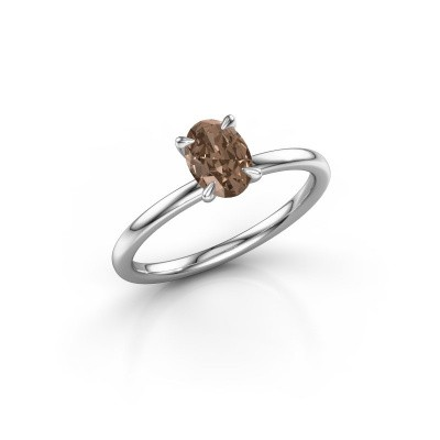 Foto van Verlovingsring Crystal OVL 1 585 witgoud bruine diamant 0.80 crt