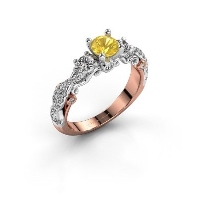 Verlovingsring Kourtney 585 rosé goud gele saffier 5 mm