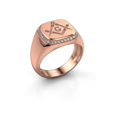 Men's ring Johan 375 rose gold zirconia 1.2 mm