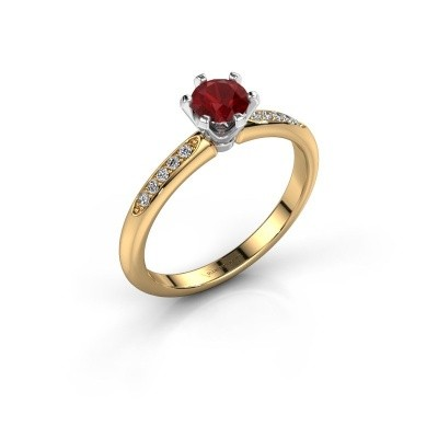 Photo de Bague de fiançailles Tiffy 2 585 or jaune rubis 4.7 mm