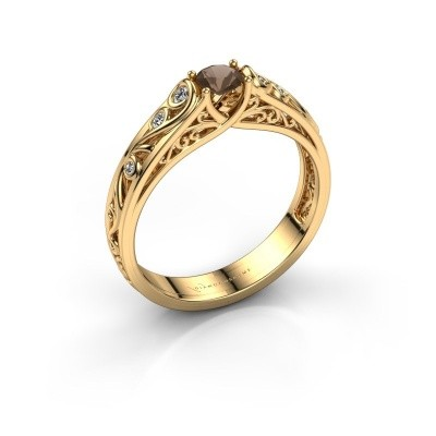 Foto van Ring Quinty 375 goud rookkwarts 4 mm