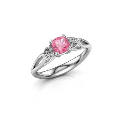 Foto van Verlovingsring Amie cus 950 platina roze saffier 5 mm