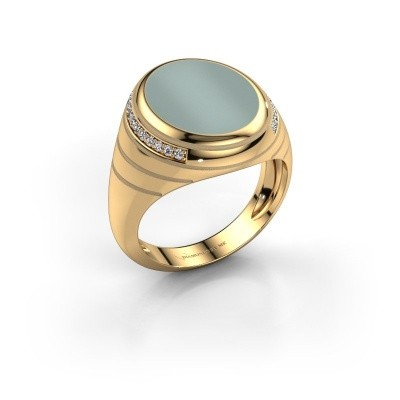 Signet ring Luuk 585 gold green sardonyx 15x12 mm