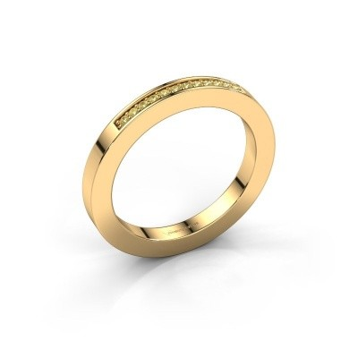 Stackable ring Loes 1 375 gold yellow sapphire 1.1 mm
