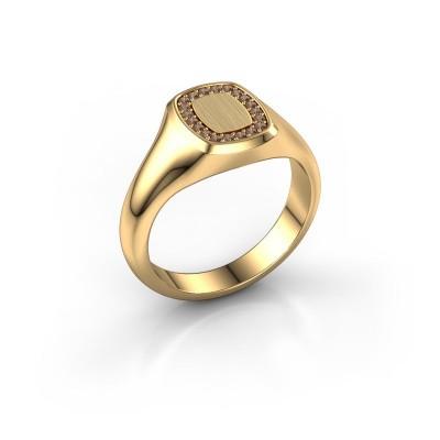 Men's ring Floris Cushion 1 585 gold brown diamond 0.15 crt