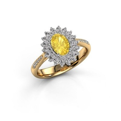 Engagement ring Alina 2 585 gold yellow sapphire 7x5 mm