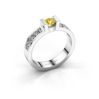 Verlovingsring Lieve 2 925 zilver gele saffier 4 mm
