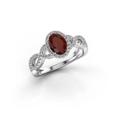 Engagement ring Dionne ovl 925 silver garnet 7x5 mm