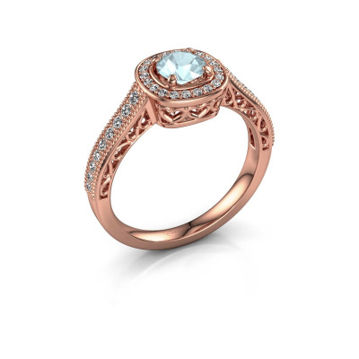 Verlovings ring Candi 375 rosé goud aquamarijn 5 mm