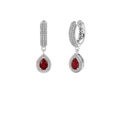Picture of Drop earrings Barbar 2 375 white gold ruby 6x4 mm