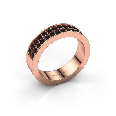 Aanschuifring Catharina 6 375 rosé goud zwarte diamant 0.672 crt