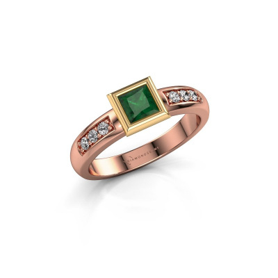 Stacking ring Lieke Square 585 rose gold emerald 4 mm