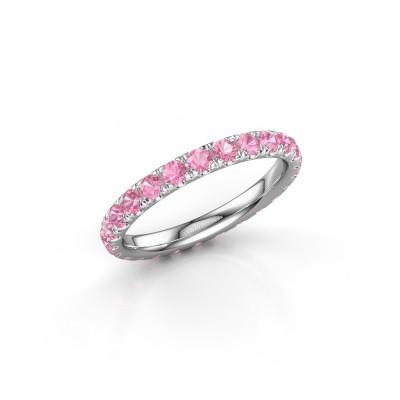 Foto van Ring Jackie 2.3 585 witgoud roze saffier 2.3 mm