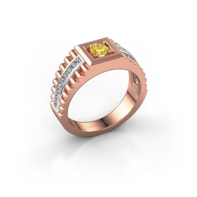 Foto van Heren ring Maikel 585 rosé goud gele saffier 4.2 mm