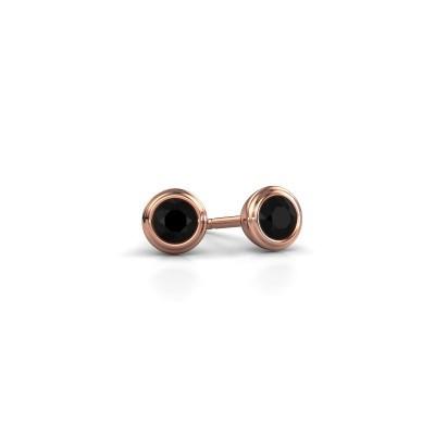 Foto van Oorstekers Shemika 375 rosé goud zwarte diamant 0.18 crt