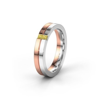 Wedding ring WH0225L14B 585 rose gold yellow sapphire ±0.16x0.08 in
