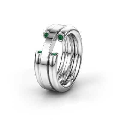 Wedding ring WH6018L 925 silver emerald ±8x3 mm