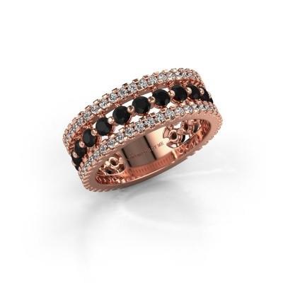 Verlovingsring Elizbeth 2 375 rosé goud zwarte diamant 1.994 crt