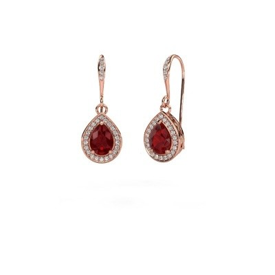 Picture of Drop earrings Beverlee 2 375 rose gold ruby 7x5 mm