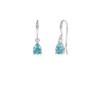 Picture of Drop earrings Laurie 2 375 white gold blue topaz 7x5 mm