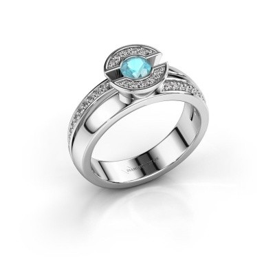 Foto van Ring Jeanet 2 950 platina blauw topaas 4 mm