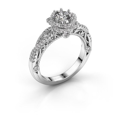 Engagement ring Lysanne 950 platinum zirconia 5 mm