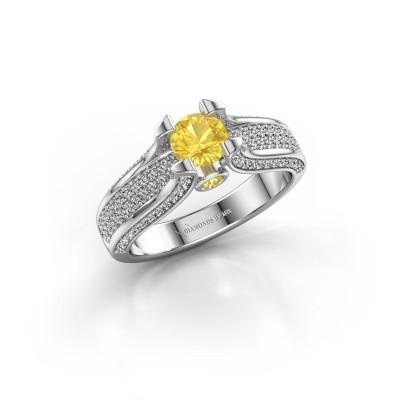 Bague de fiançailles Jeanne 2 950 platine saphir jaune 5 mm