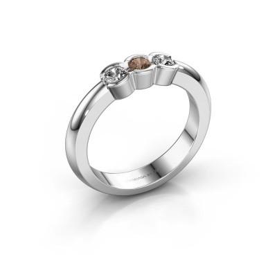 Foto van Verlovingsring Lotte 3 585 witgoud bruine diamant 0.30 crt